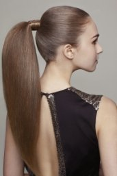 Get the look by blow-drying the hair straight, for a smooth look placing it into a high ponytail...