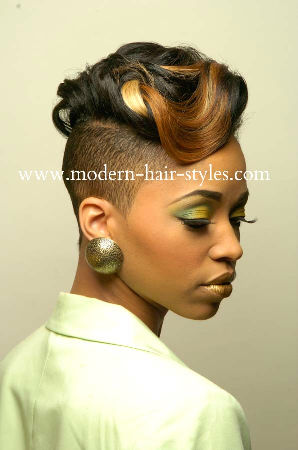 Hairstyles For Short Hair With Shaved Side : black-women-hairstyles-shaved-sides-on-side.jpg