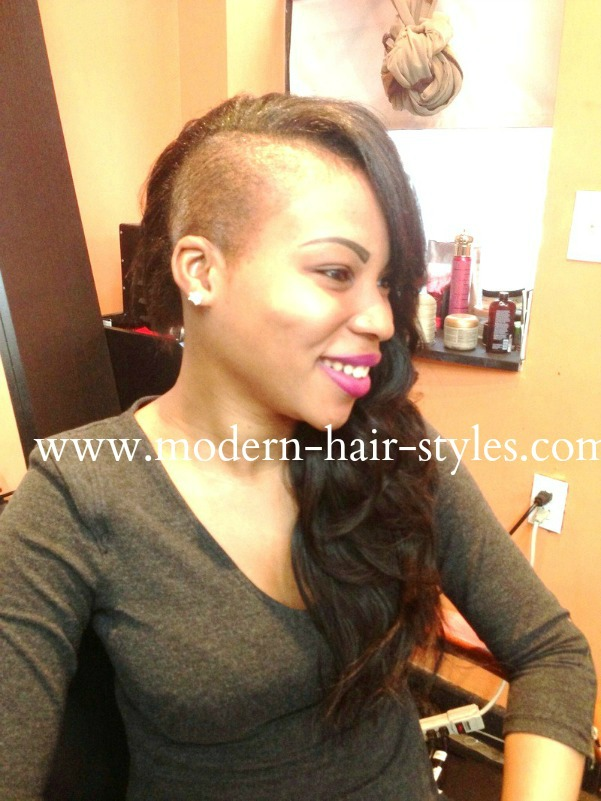 Sew in Weave Hairstyles with Shaved Sides
