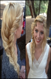 Flipping the hair over one shoulder in a fishtail or even a long braid is all the rage this season