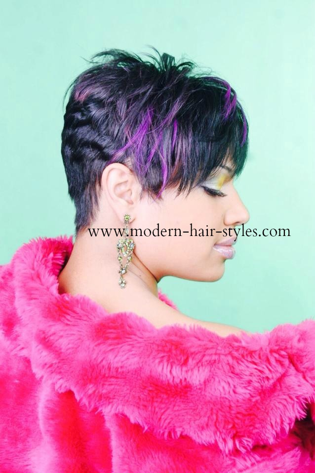Crochet Hair Shops Near Me : Short Pixie Haircut with Purple Highlights